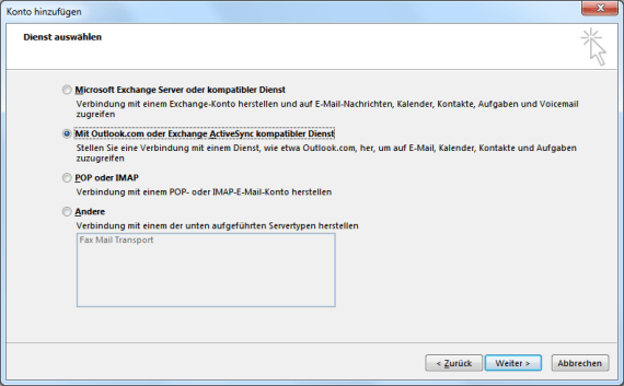Hotmail E-Mail-Konto in Outlook 2013 einrichten