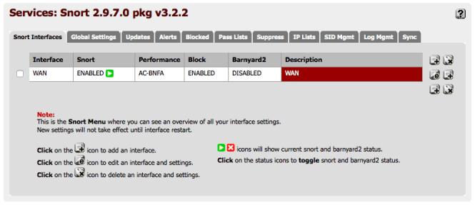 pfsense: Snort interfaces