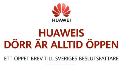 Huawei publicerar öppet brev till svenska beslutsfattare 1