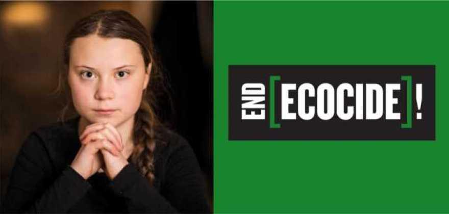 Greta kräver att EU ska förespråka ekocid som internationellt brott. Så länge det är fullt lagligt att förstöra ekosystem kommer vi inte kunna hejda klimatförändringarna. #EndEcocide 1