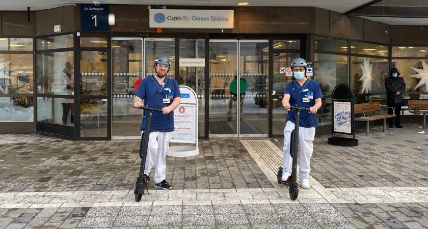 Elsparkcyklar får nytt liv på sjukhus i Stockholm