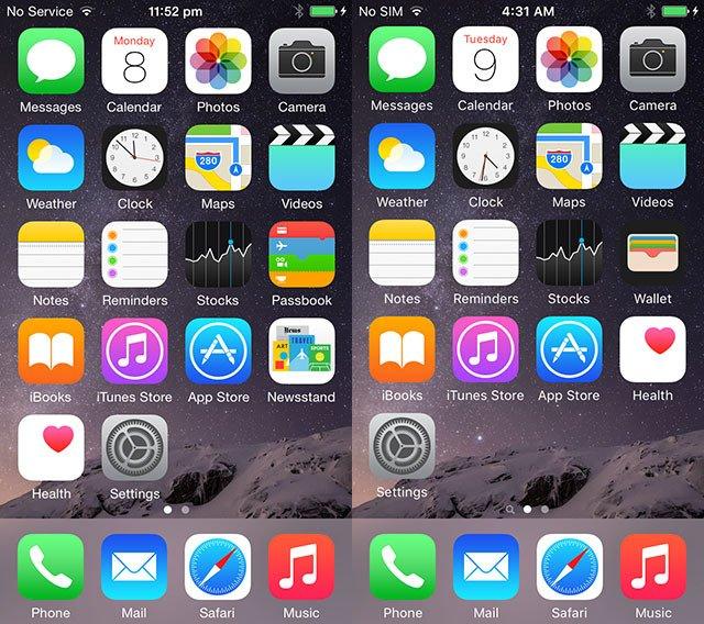 новый шрифт iOS 9 в сравнении с iOS 8