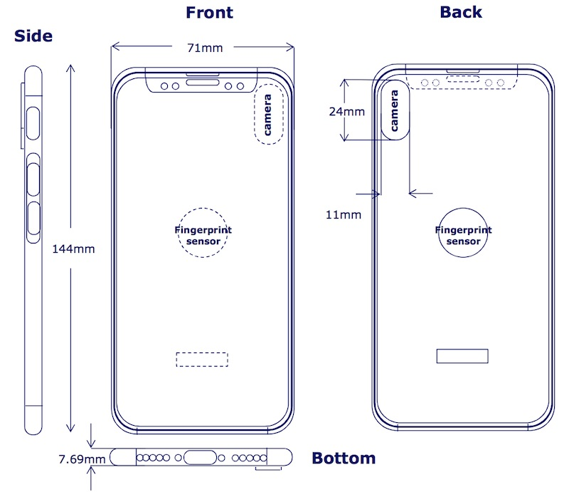 Нановом схематическом изображении iPhone 8 сканер TouchID расположен сзади