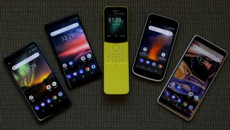 The New Nokia 6, Nokia 8 Sirocco, Nokia 8110, Nokia 1 and the Nokia 7 Plus are seen at a pre-launch event in London