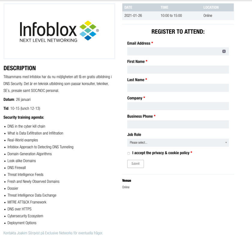 Infoblox – 26 januari – DNS Security Workshop 9
