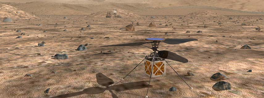 Helicopter drone set for Mars flight