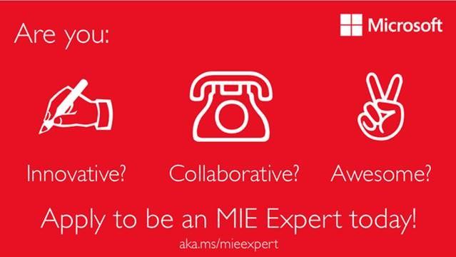 Microsoft söker fler innovativa lärare inom IKT till lärarprogrammet MIEExpert! Sista ansökningsdatum är 30 oktober.