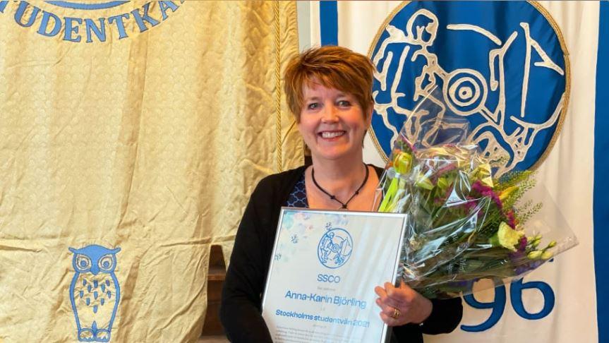Anna-Karin Björling utsedd till Stockholms studentvän 2021