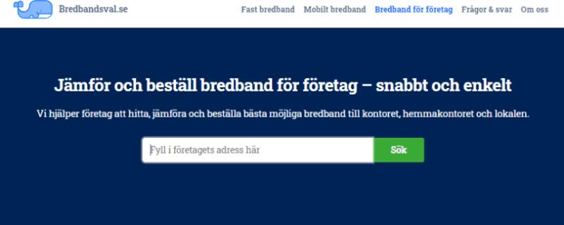Bredbandsval.se lanserar ny tjänst som hjälper Sveriges småföretagare med bredband