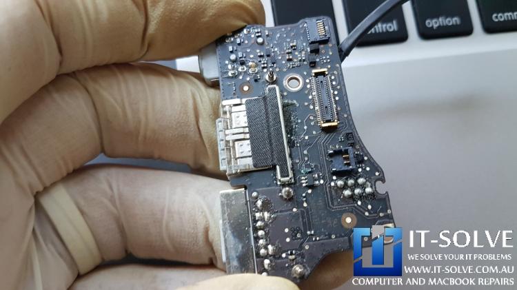 Failed DC-IN board due to water damage - Macbook Charging Repair