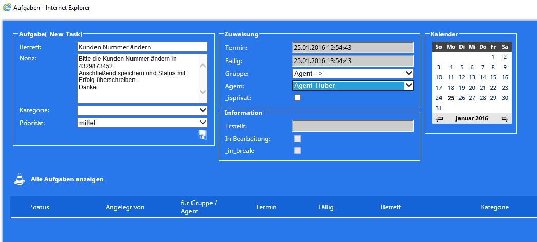 Call Center Software Aufgabenmanagement