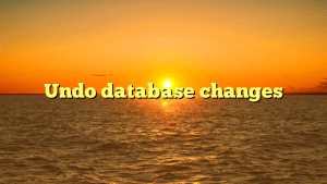 Undo database changes