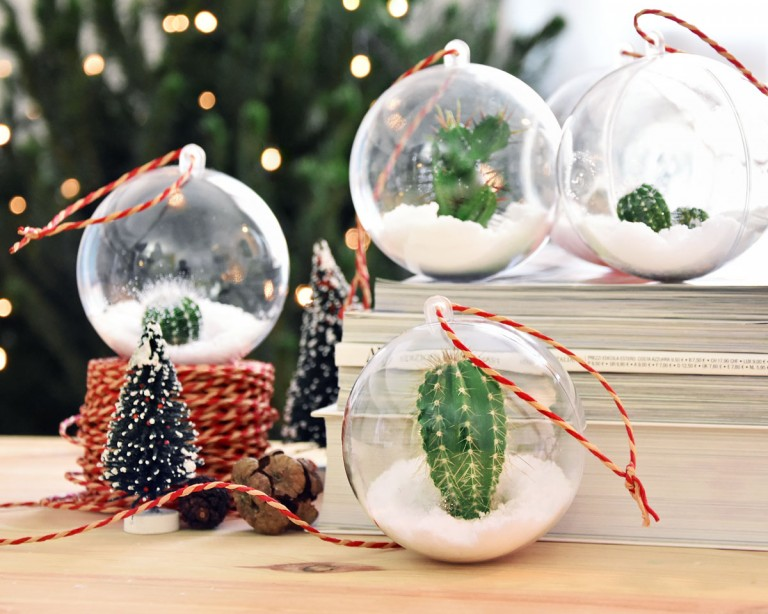 Decorazione Di Natale Fai Da Te Palline Con Cactus