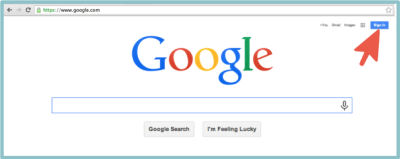 Google Page with Red Arrow Pointed at Sign in Button