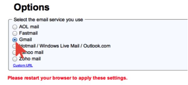 Gmail Browser Option