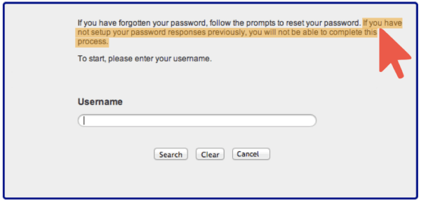 Password Security Questions Warning