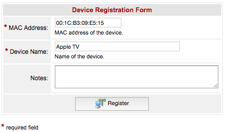 Device Registration Form with MAC address and Apple TV as name of device
