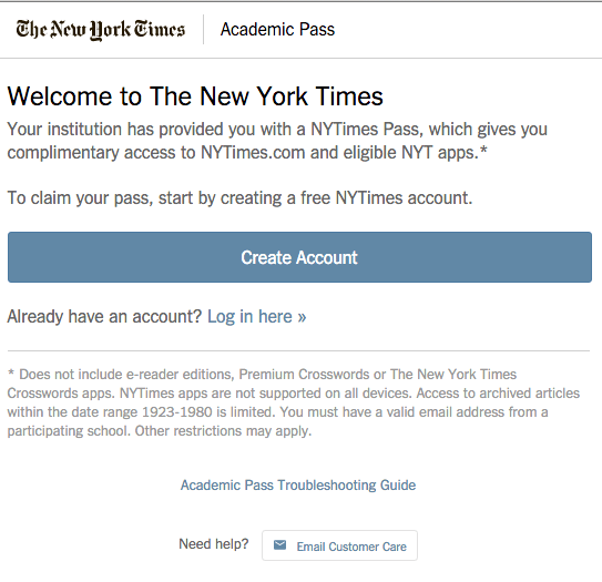 NY Times Create Account or Log in here - FIT Information