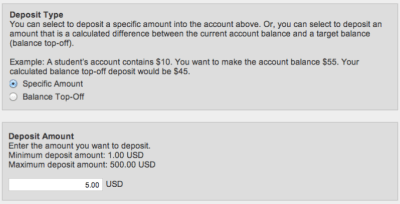 Make Account Deposit Deposit Type Specific Ammount Select and Deposit Amount 5.00