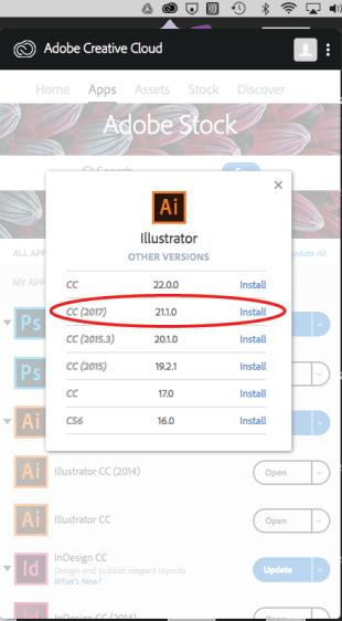Adobe Illustrator old version install window