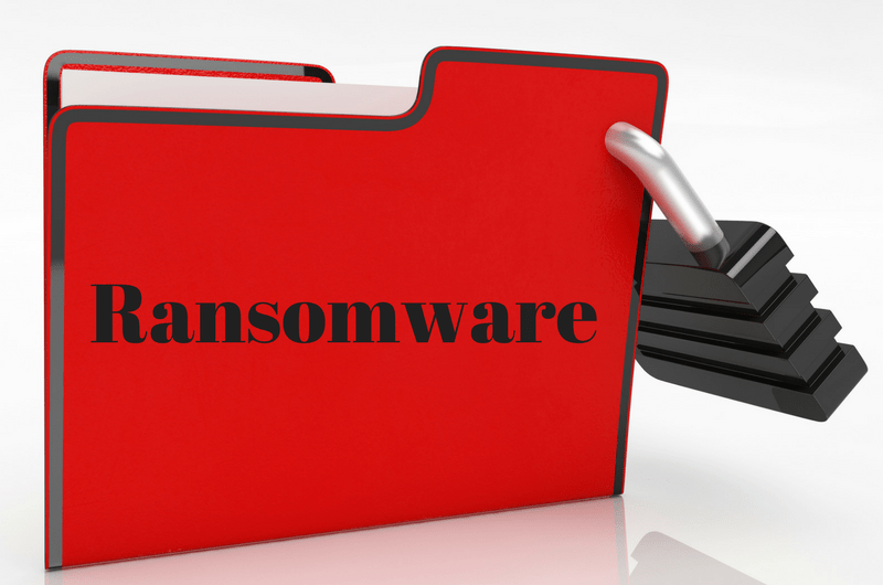 Folder Labeled Ransomware with Padlock