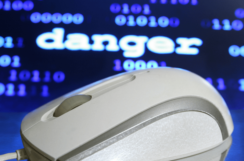 Computer Mouse Danger Text and Binary in Background