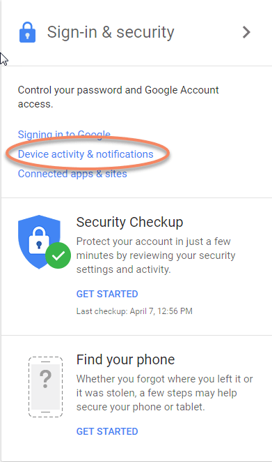 Google Window Device Activity and Notifications