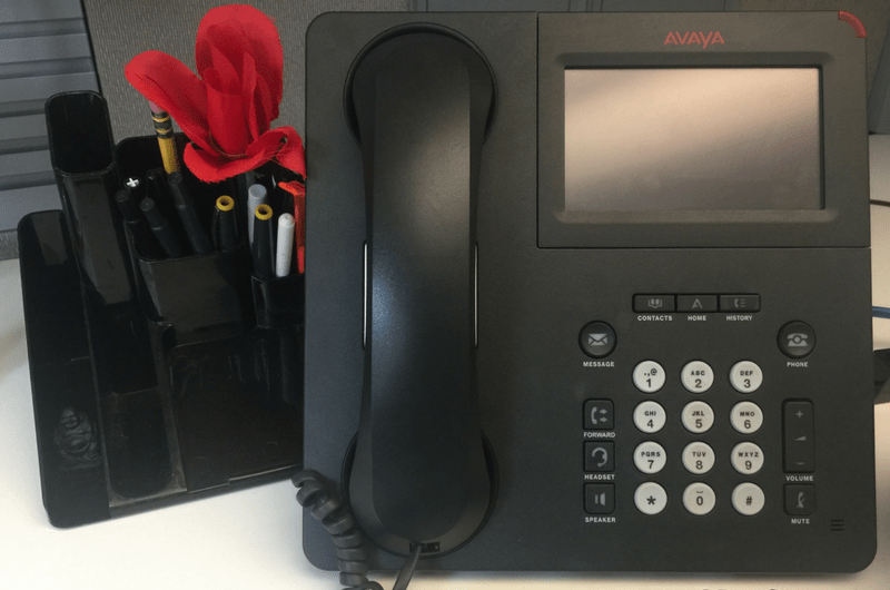 Avaya Phone with Flower