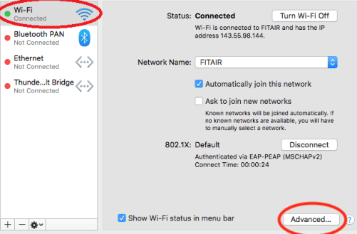 Apple Network Window with WiFi and Advanced Button Circled