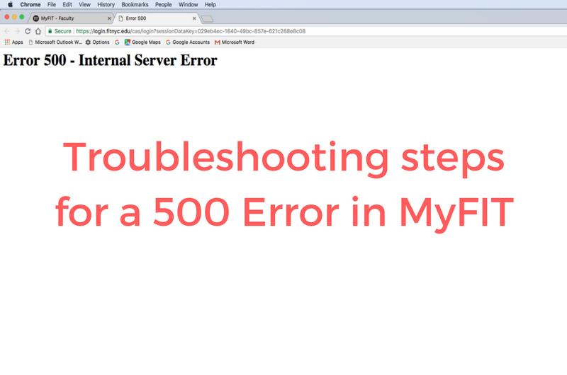 500 Error Page on MyFIT