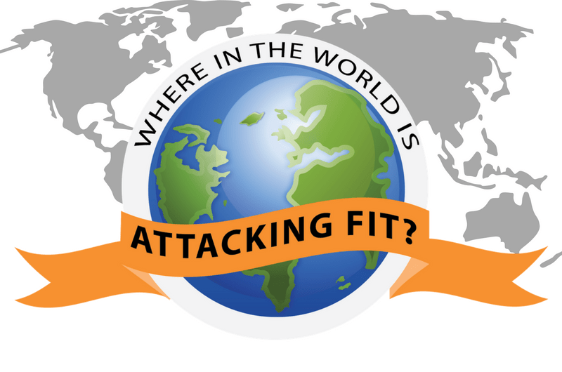 World Map with Where in the World is Attacking FIT logo