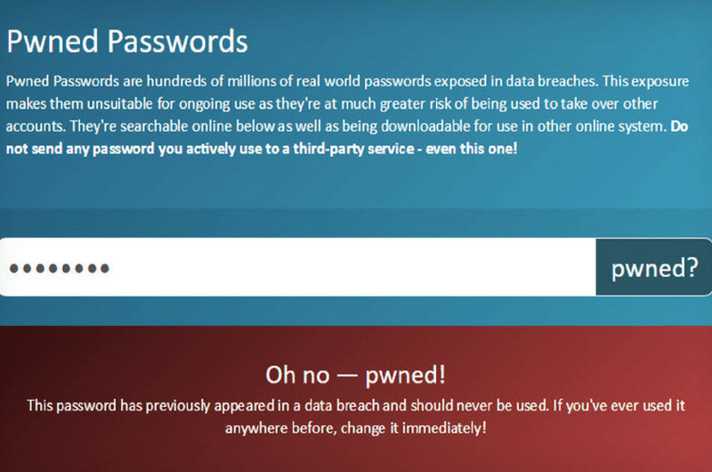 Screenshot from Pwned Passwords