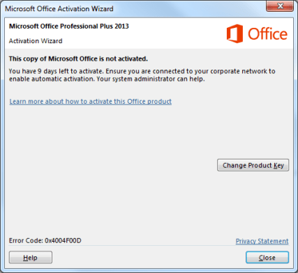 Microsoft Office Activation Wizard Pop-up