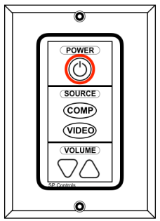 Projector Wall Panel Diagram with Power Button Circled in Red