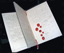 Il documento originale dalla prima Convenzione di Ginevra nel 1864, fornito per prendersi cura di soldati feriti.