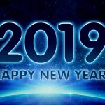 blue space themed image with the text 2019 Happy New Year