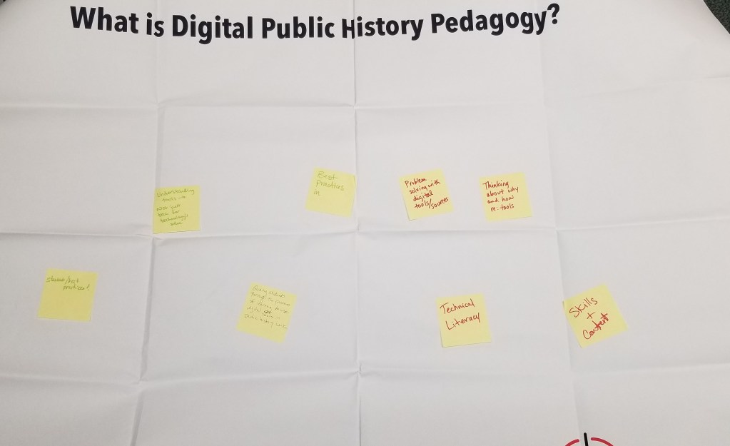 "White background with black text that says ""What is Digital Public History Pedagogy?"" with yellow Post-it Notes with text on them."