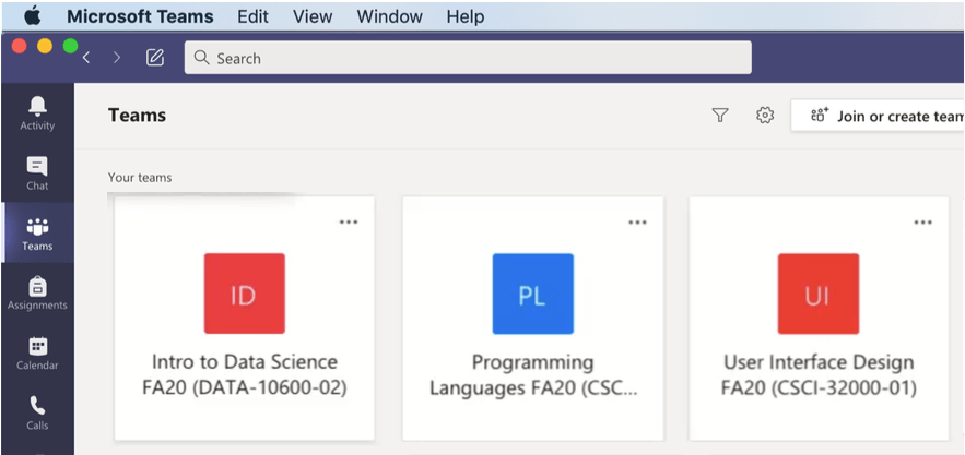 Grid view of Microsoft Teams showing the Class Teams created via Moodle.