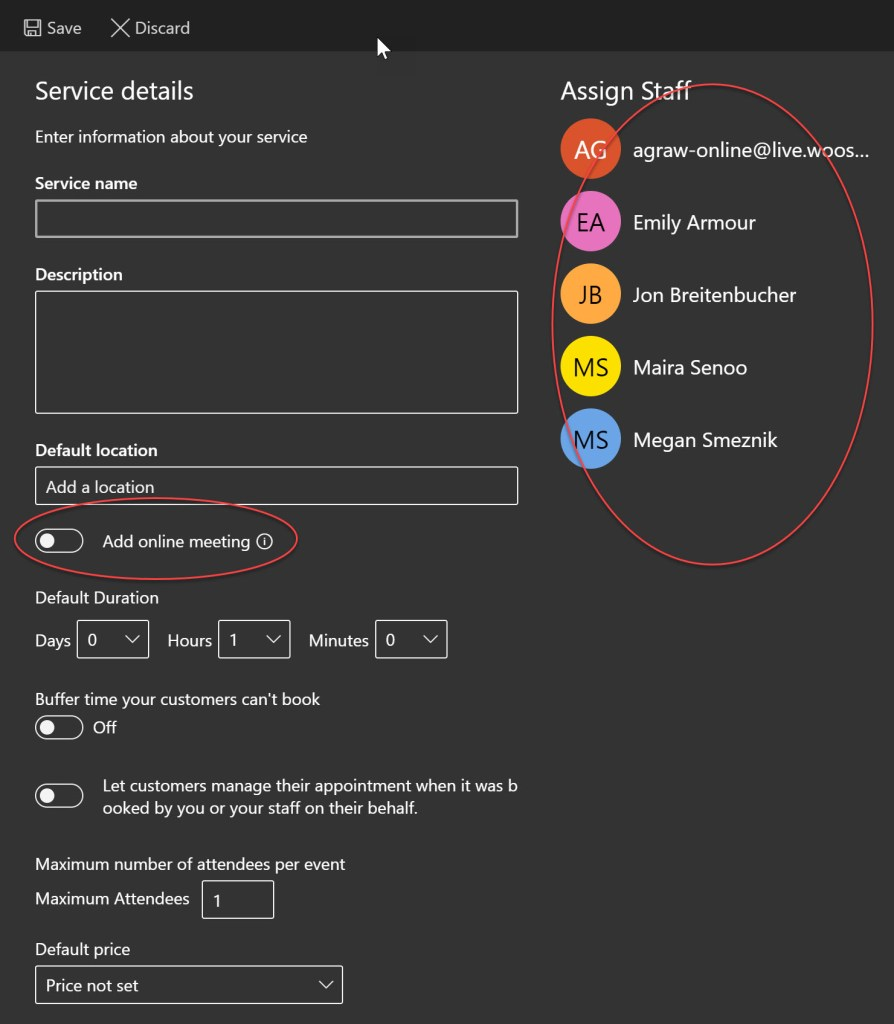 Screenshot of the add a service page with online meeting option and staff circled in red.
