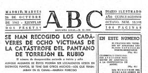 Il quotidiano ABC così titolava il 26 ottobre del 1965, a quattro giorni dal disastro