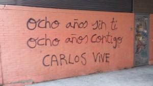 Una scritta su un muro di Moratalaz (Madrid) è comparsa all'alba dell'ottavo anniversario della morte di carlos Palomino (foto: L.Pasqualini per El Itagnol)