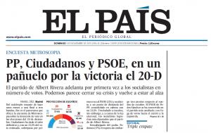 Prima pagina dell'edizione cartacea de El Paìs (1 novembre 2015)