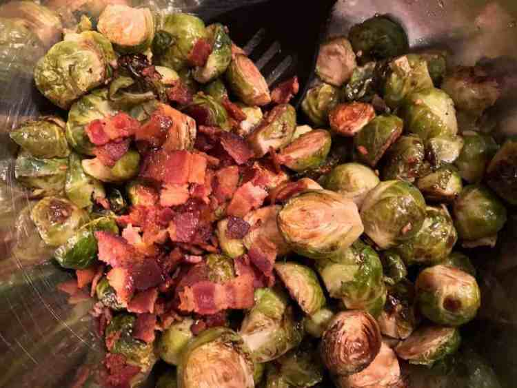 Roasted brussel sprouts with bacon, balsamic, and honey