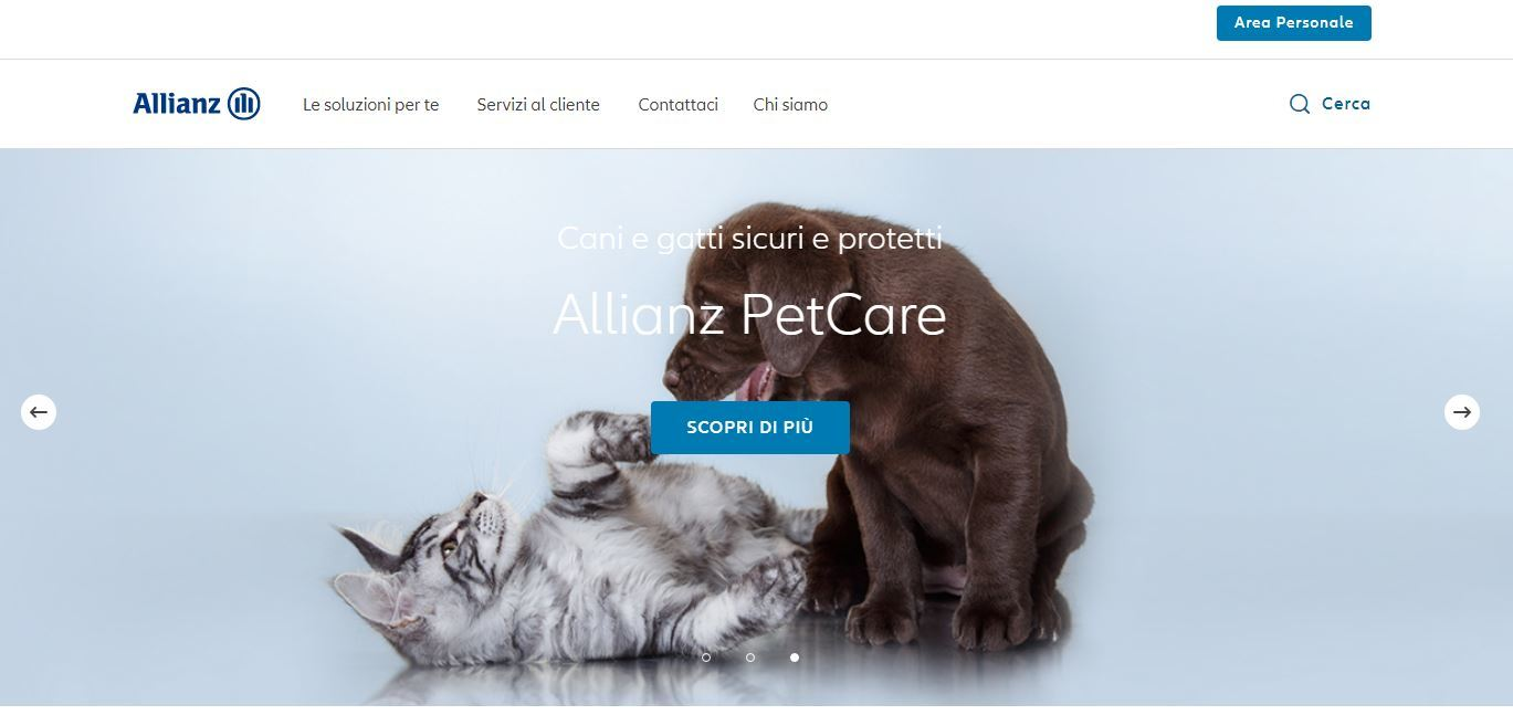 Homepage sito Allianz PetCare
