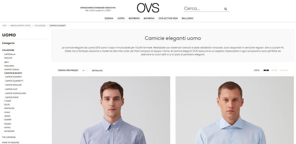 Camicie online: sezione camiceria di OVS