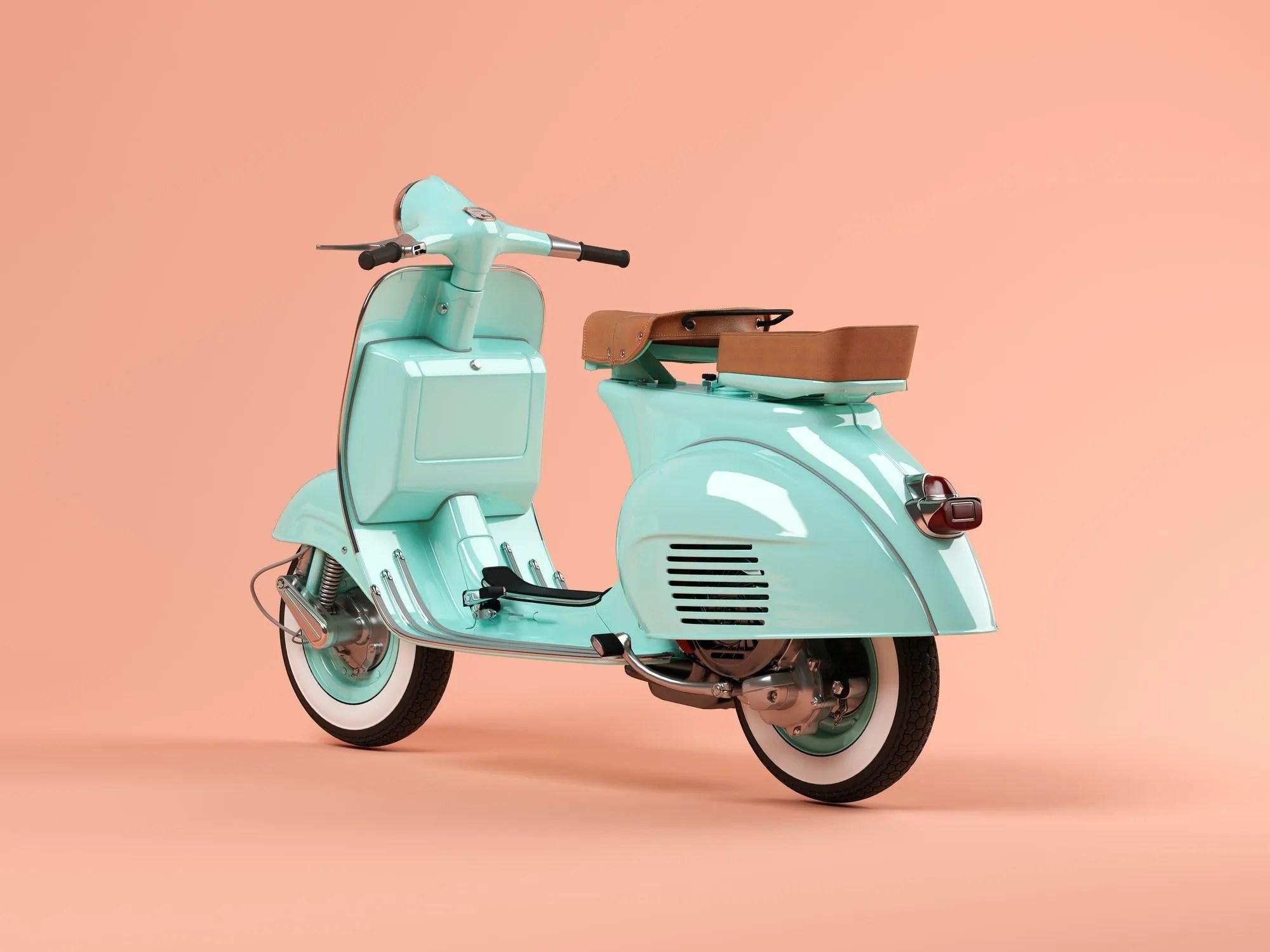 Blue scooter on pink background 3 D illustration