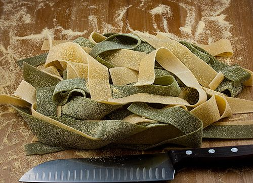 Green and White Pappardelle