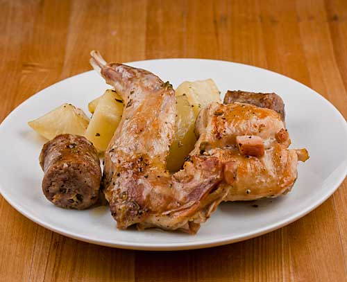 Rabbit with Sausage and Potatoes