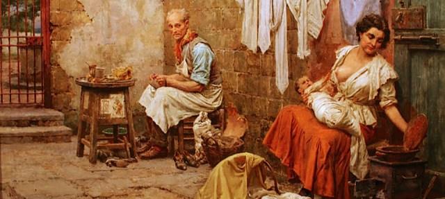 Nella cortile (olio su tela; 49.5 x 63 cm) Fortunino Matania (1881–1963)