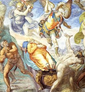 """Matteo da Lecce, """"Disputa del corpo di Mosè""""_ Cappella Sistina. Frammento."""